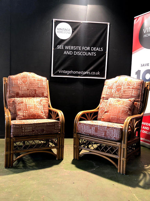 Pair of modern Cane Conservatory Chairs