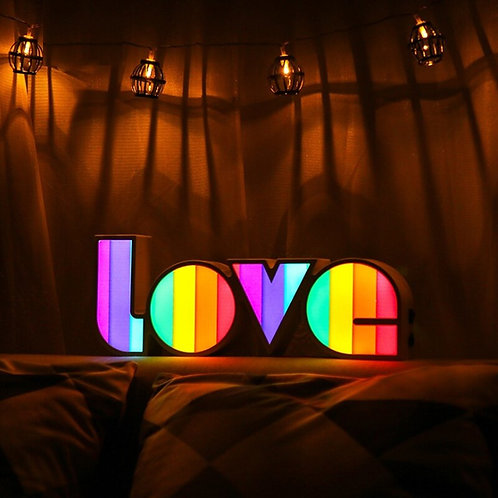Colorful LED Box Lamp  Desk Decoration Rainbow Love Sign 5V DC Battery Powered