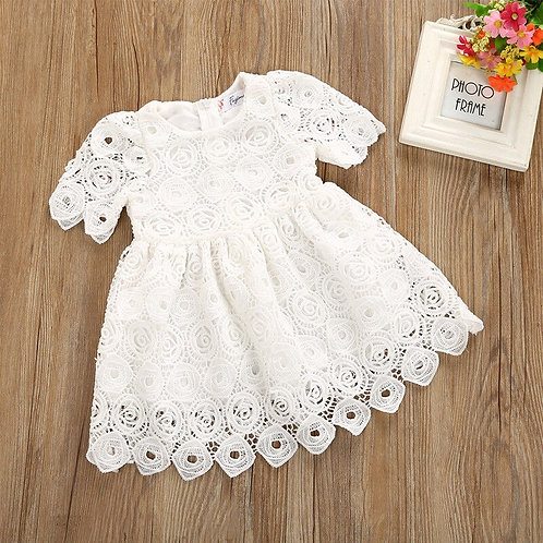 Solid Short Sleeve Lace Crochet Princess Dress for Baby Girl
