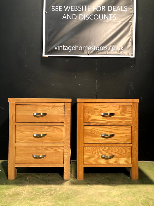 Pair of Oak Modern Bedside Cabinets
