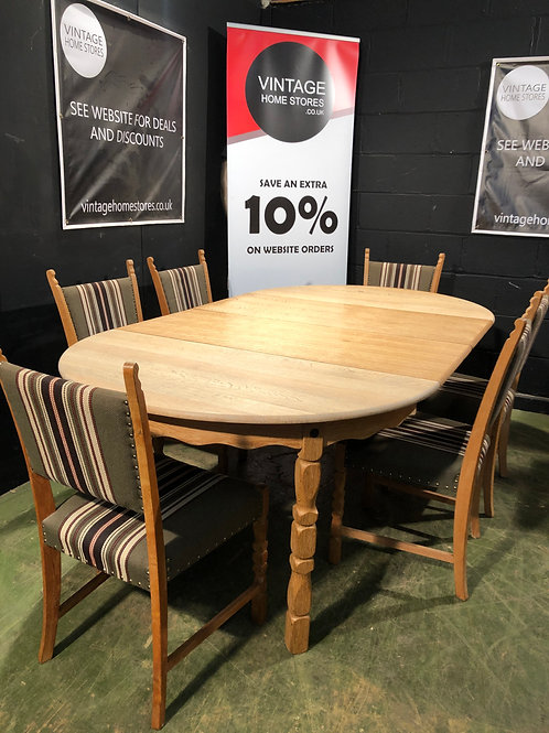 Super French Country Oak Extending Dining Table and 6 Chairs