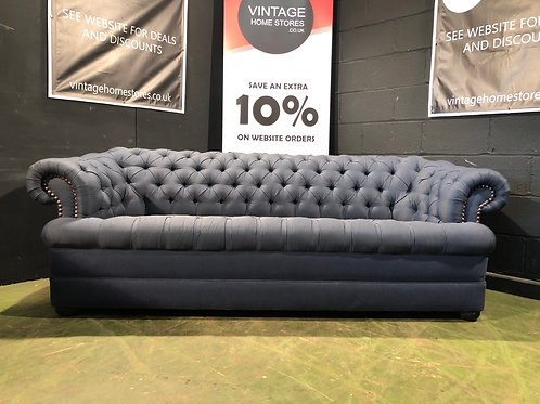 Modern Designer Style Blue 3 Seater Chesterfield Sofa