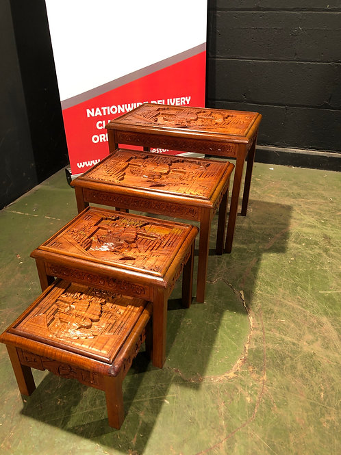 Fantastic Set of 4 Graduated Nest of Tables Oriental Carved