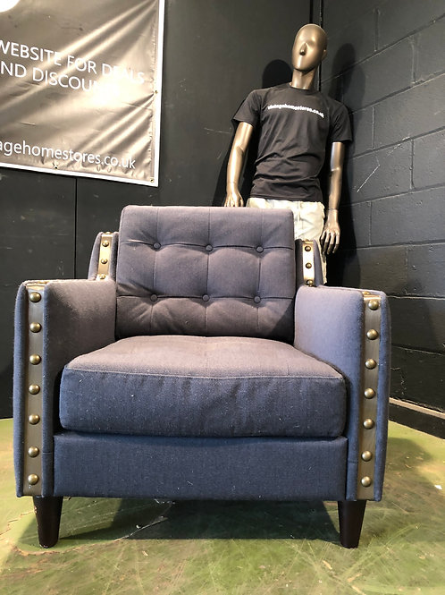 Ex Showhouse Studded Chair in Grey
