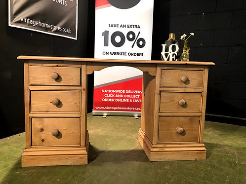 Country Farmhouse Waxed Pine Twin Pedestal Desk / Dressing Table