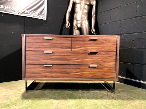 Barker and Stonehouse Walnut and Chrome Low Sideboard Chest of Drawers