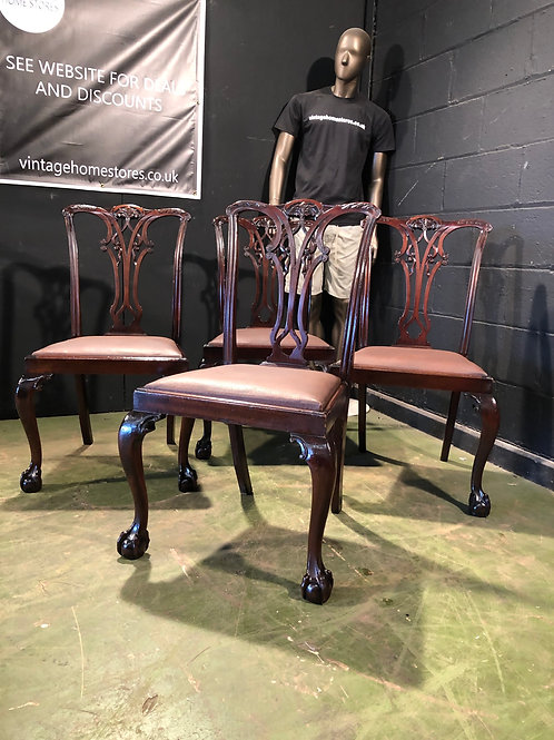 Set of 4 Antique Chippendale Style Dining Chairs in Mahogany