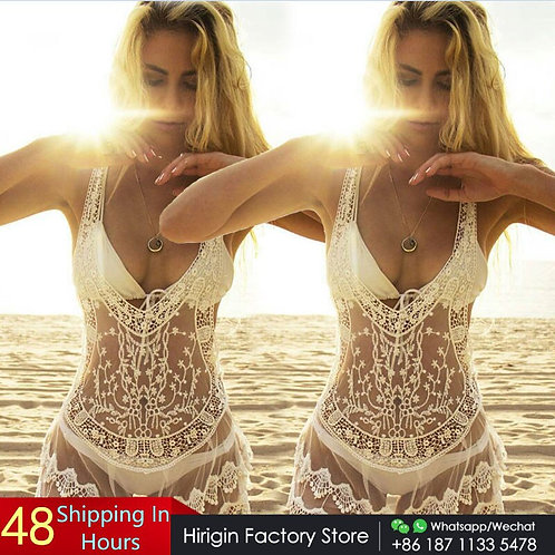 Women Beach Dress Bathing Swimwear Cover-Ups Summer Bikini Crochet White Dress