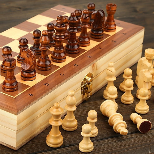 Wooden Chess Set Folding Magnetic Large Board With 34 Chess Pieces Storage
