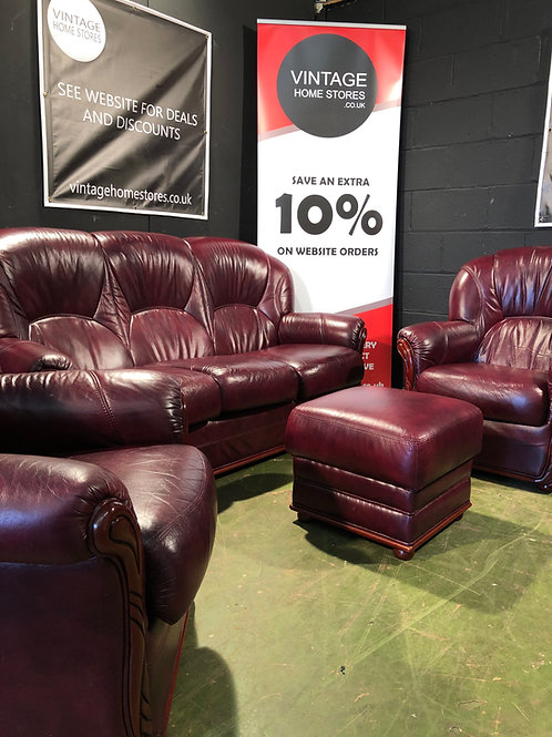 Modern Oxblood Chesterfield Sofa Two Chairs and Stool Suite