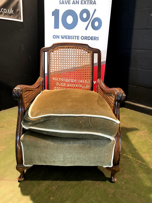 Vintage Bergere Oak Lounge Chair B (matching chair in other items)