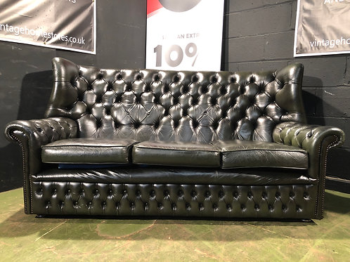 Green Leather Vintage Chesterfield 3 Seater Wing Back Sofa