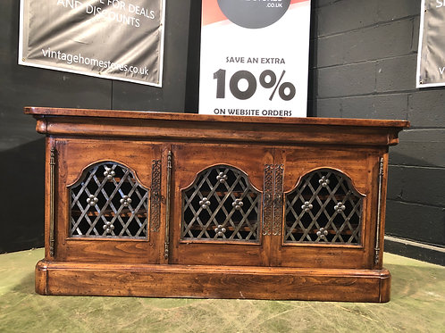 Stunning Oriental Indian Style Large Sideboard with Wrought Iron