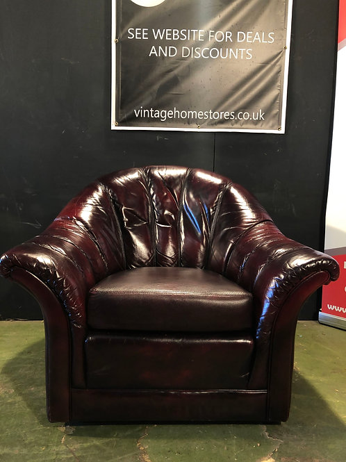 Vintage Retro Deco Style Leather Chesterfield Armchair Chair Oxblood (B)