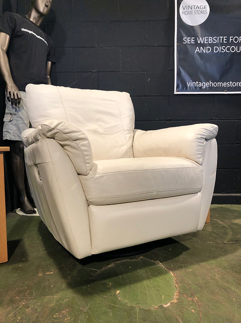 Modern Funky Ivory White Rocking Recliner and Swivel Chair