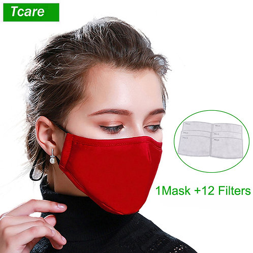 1Pcs Fashion Cotton PM2.5 Face Mouth Mask + 12Pcs  Activated Carbon Filter
