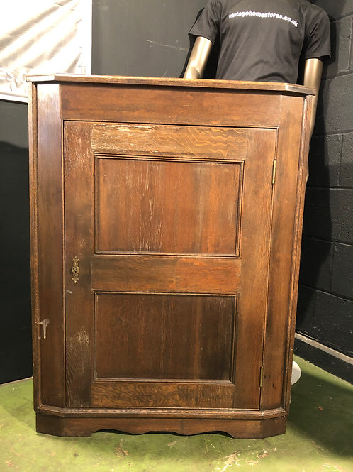 Vintage Antique Furniture Oak Corner Cupboard (a)