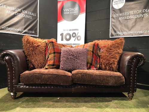 Traditional Style Brown Studded Chesterfield Sofa
