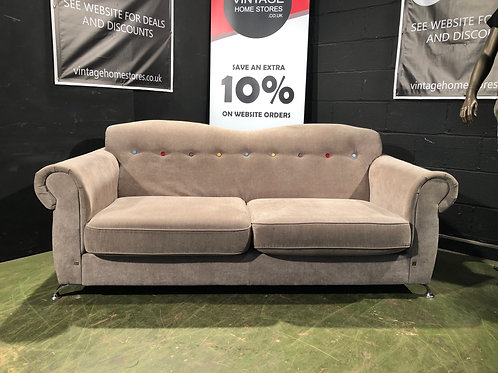 Modern DFS Grey Sofa with Coloured Buttons