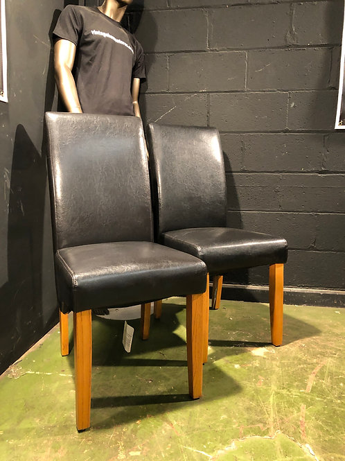 Super Pair of Leather Dining Chairs