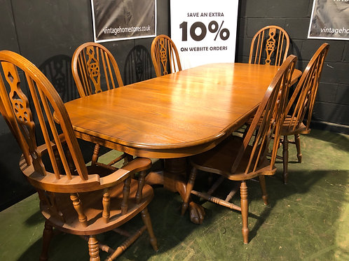 Farmhouse Oak Dining Table with 6 High Back Chairs