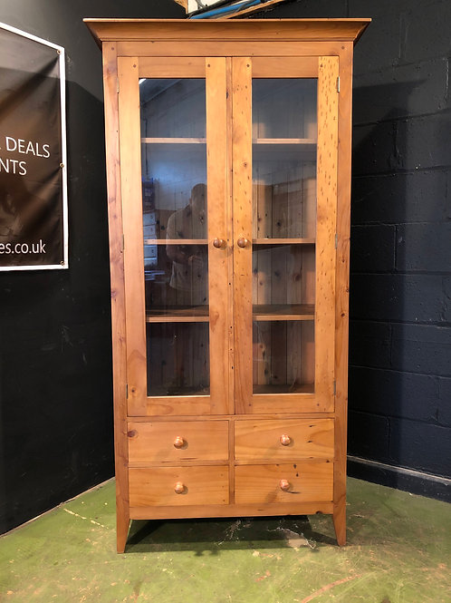 Modern Solid Wood Tall Glazed Bookcase Display Cabinet