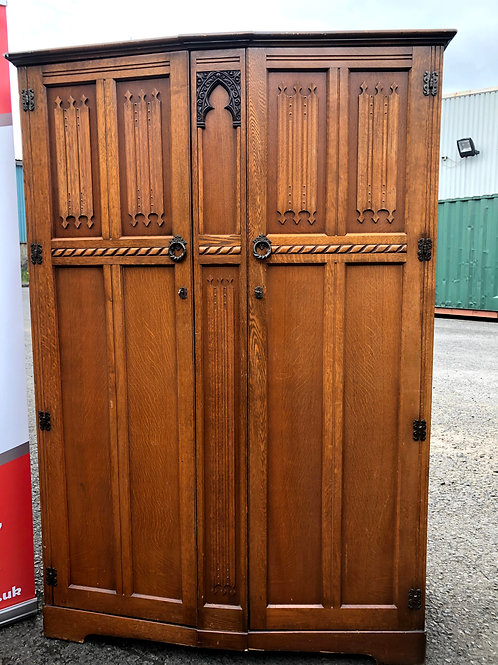 Vintage Golden Oak Bow Curved Front Hall Wardrobe Robe Armoire