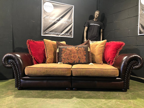 Barker and Stonehouse large 3 Seater Sofa in Leather and Fabric