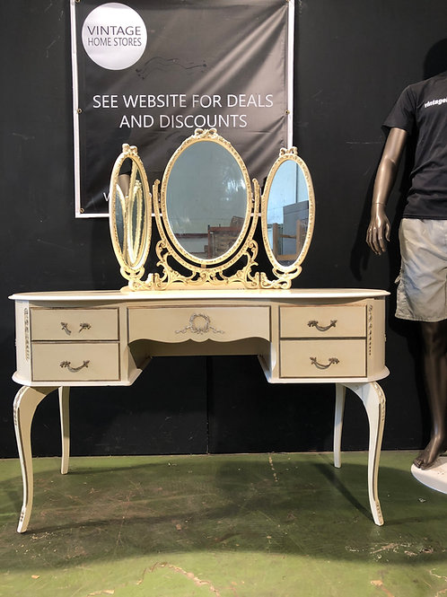 Vintage Shabby Chic Rococo Style Olympia Dressing Table with Mirror