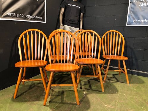 Set of 6 Farmhouse Beech Dining Chairs