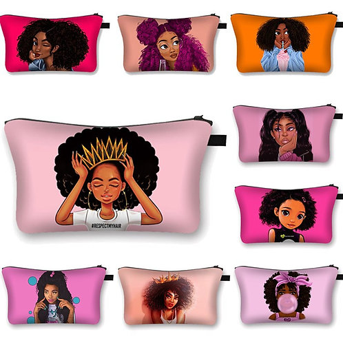 Cute Africa Girl Cosmetic Cases Fashion Afro Ladies Makeup Bag