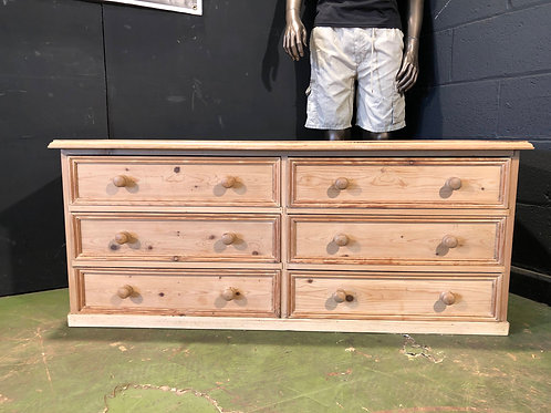 Vintage Farmhouse Pine Low Chest of Drawers Trunk