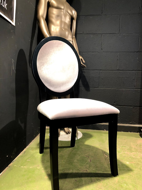 Black Oval Chair with Mink colour Fabric Coach House Interiors