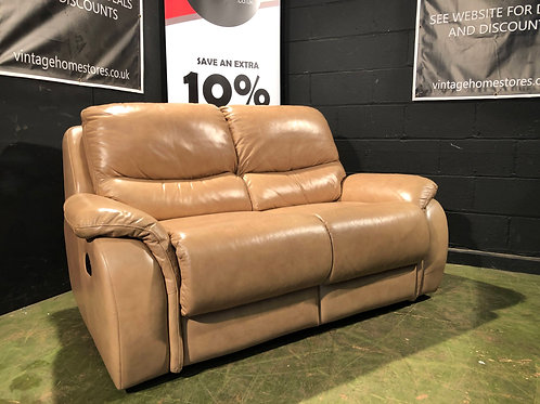 Modern 2 Seater Caramel Leather Reclining Sofa (1/2)