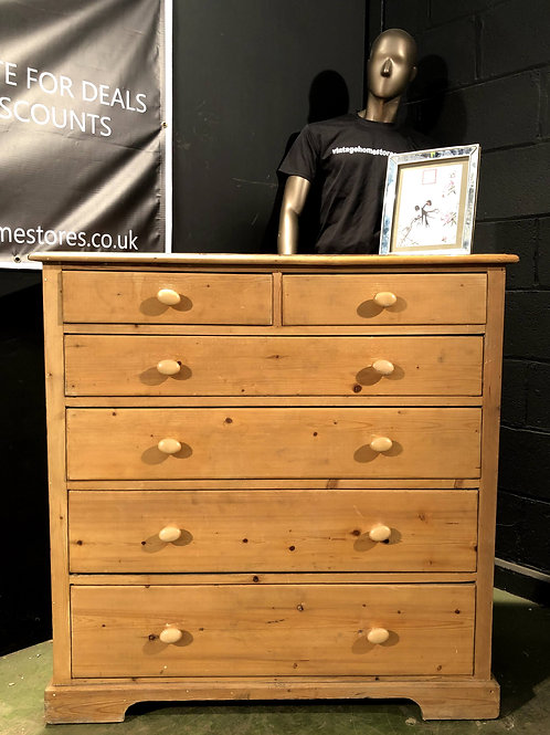 Chunky Rustic Pine Farmhouse Chest of Drawers