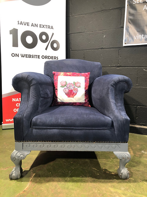 Vintage recovered Tub Chair in Blue with Ball and Claw Feet (B)