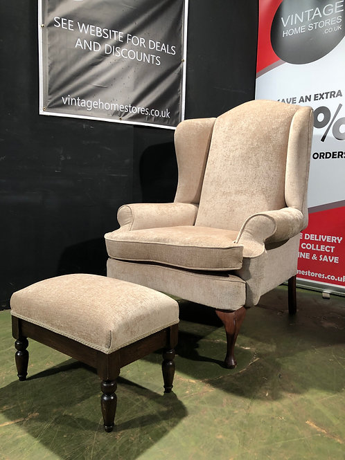 Super Gents Chesterfield High Back Fabric Chair and Stool
