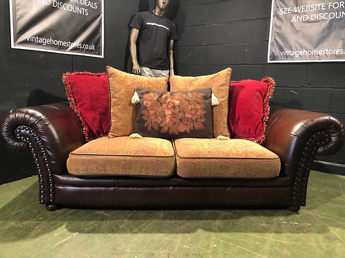 Barker and Stonehouse large 2 Seater Sofa in Leather and Fabric