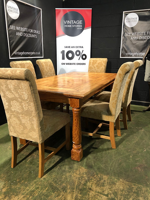 Barker and Stonehouse Flagstone StyleExtending Dining Table + 6 Fabric Chairs