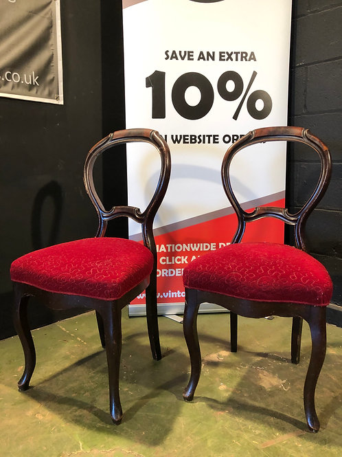 Pair of Mahogany Balloon Back Chairs