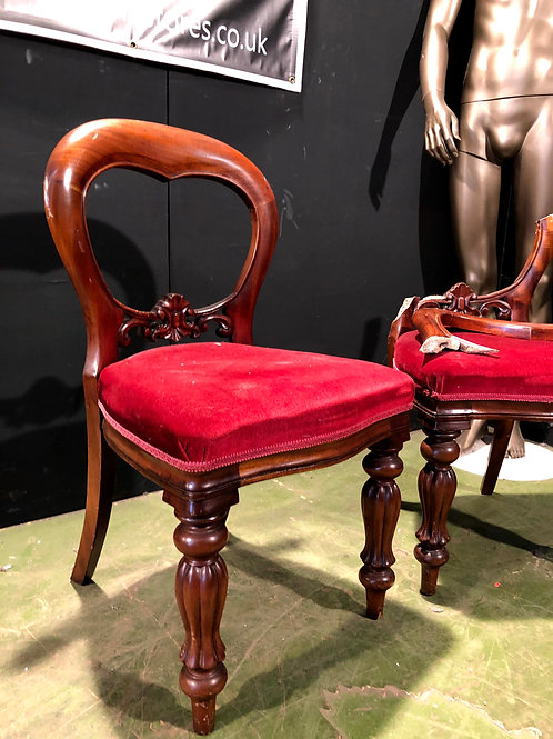 Pair of Victorian reproduction Balloon Back Chairs in solid mahogany