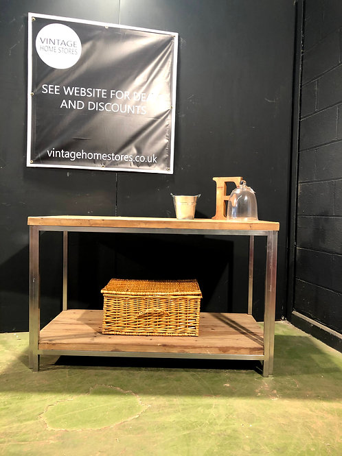 Coach House Modern Metal and Wood Console Table