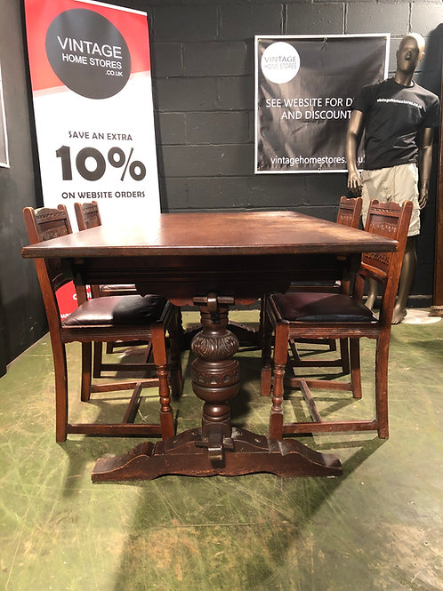 Old Charm Oak Wood Brothers Gothic Style Table and Chairs