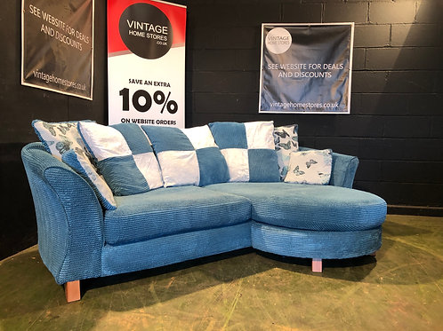 DFS Shaldon Blue 3 Seater Sofa with Chaise (can be used either side)