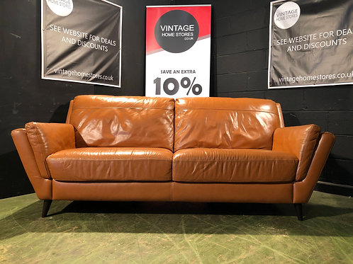 Modern Tan Leather 3 Seater Sofa
