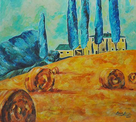Campos en epoca de siega, la Toscana