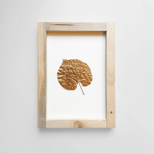 The Linden Tree gold leaf in a frame