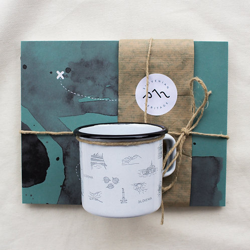 Gift pack : Book, Postcard, Enameled cup Slovenia