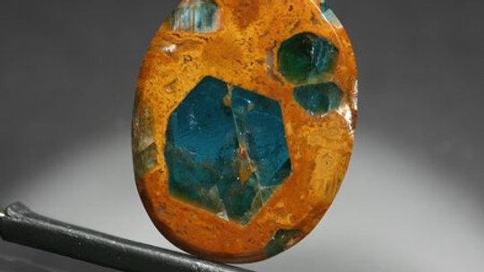 Blue Apatite in Jasper Cabochon