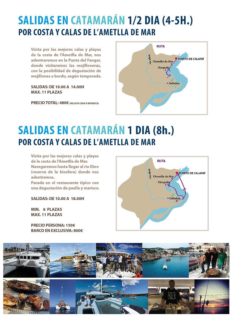 salidas con catamaran, fuera de temporada, invierno y primavera. Salidas de 4h. y 8h.